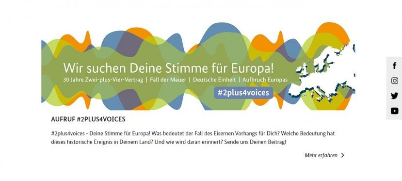 """#2plus4voices – Aufruf der Kommission """"30 Jahre Friedliche Revolution und Deutsche Einheit"""""""